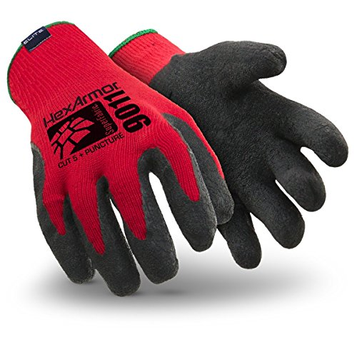 HexArmor 9011-L Level 6 Series SuperFabric Cut Resistant Gloves with Wrinkle Rubber Palm Coating, Large, Red/Black by HexArmor