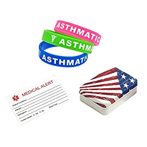 BAIYI Asthmatic Alert Bracelets for Kids Silicone Medical Wristbands 3 Pack