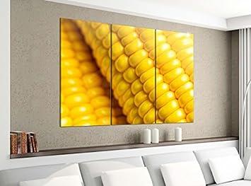 Amazon De Leinwandbild 3tlg 120cmx100cm Mais Zuckermais Gelb Kuche