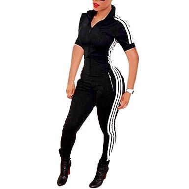 61052fd8139f Bodycon4U Women Sexy Short Sleeve Zipper Sport Fitness Bodycon Jumpsuit  Romper Unitard Black S