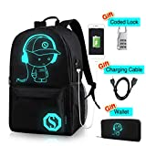 CAIWEI Anime Laptop Luminous Backpack noctilucence Birthday Gift Backpack with USB Charging Port Glows at Night Fits 15.6-Inch with Pencil Pouch College School Waterproof Bookbag for Kids