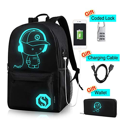 CAIWEI Anime Laptop Luminous Backpack noctilucence Birthday Gift Backpack with USB Charging Port Glows at Night Fits 15.6-Inch with Pencil Pouch College School Waterproof Bookbag for Kids by CAIWEI