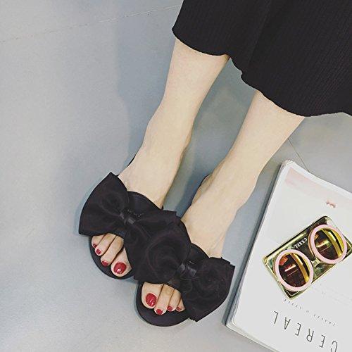 zapatillas Negro arena Color Hembra LIXIONG grande Moda Negro verano Zapatos 2 4 EU37 5 colores plano 235 Nudo mariposa Fondo Playa UK4 Tamaño zapato CN37 de moda de dfq8pw