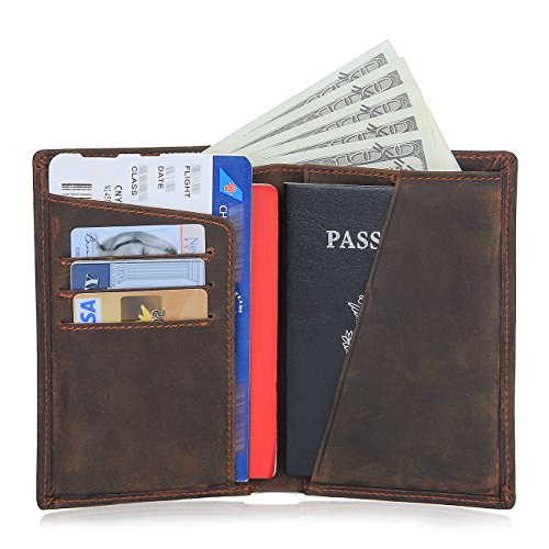 Texbo RFID Blocking Full Grain Cowhide Leather Passport Holder Card Case Travel Wallet (Dark Brown) by Texbo (Image #6)