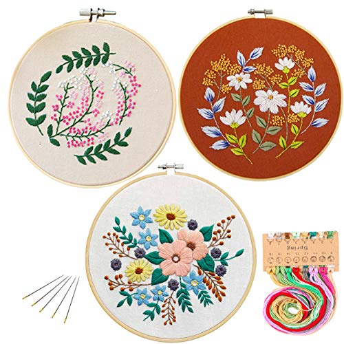 Kakeah 3 Pack Full Range of Stamped Embroidery Starter Kit with Pattern and Instructions, Including Embroidery Cloth with Pattern,Bamboo Embroidery Kits (Beautiful Flower)