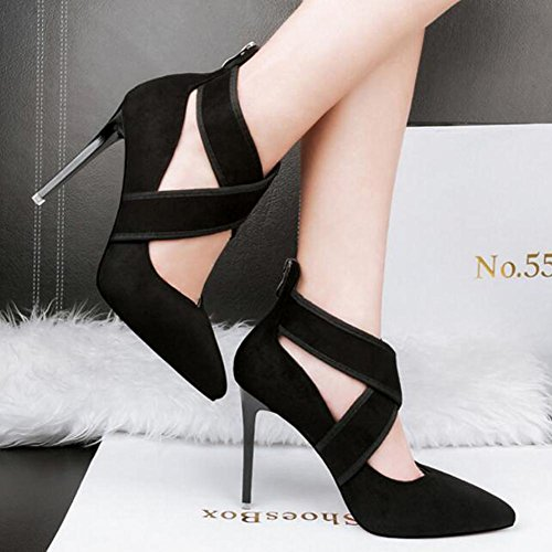Crossed With Heels High Pointed Black Straps Women'S Shoes 10cm Suede 6Svtw5qW5