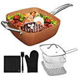 Frying Fry Skillet Pan Copper Square Ceramic Coating Nonstick 9.5 Inch Oven Safe Dishwasher Safe Aluminum Chef Cookware Cooktop Fry Pan Omelet Pans Chefs Pans Stir Fry Pans (7 Pack)