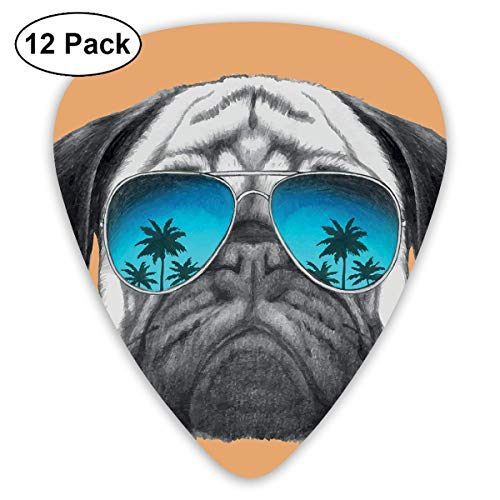 Guitar Picks - Abstract Art Colorful Designs,Dog With Reflecting Aviators Palm Trees Tropical Environment Cool Pet Animal,Unique Guitar Gift,For Bass Electric & Acoustic Guitars-12 Pack