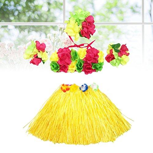 5Pcs Hawaii Tropical Hula Grass Dance Skirt Flower Bracelets Headband Bra Set 40cm (Yellow Skirt) by LUOEM (Image #6)