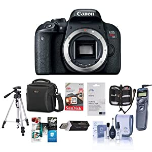 Canon EOS Rebel T7i DSLR Camera Body - Bundle With Camera Case, 64GB SDHC Card, Tripod, Remote Shutter Trigger, Screen Protector, Cleaning Kit, Card reader, Memory Wallet, Software Package