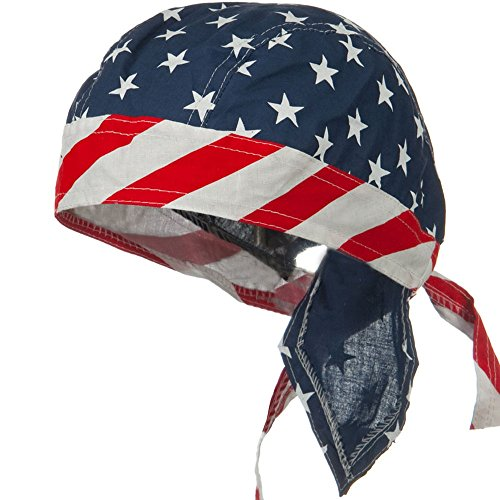 Flydanna Stars - American Flag Headwrap Patriotic Doo Rag Red White and Blue (Stars and Stripes 2)