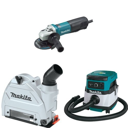 Makita 9565PVC 5 inch SJS High-Power Paddle Switch Angle Grinder with Makita 196846-1 Dust Extracting Tuck Point Guard, 5 inch with Makita XCV04Z 18V X2 LXT Lithium-Ion Cordless/Corded Dry Vacuum, 2.1 gallon
