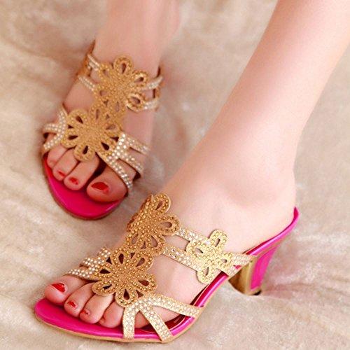 Moda Red Rose Donne Slides Zanpa Tacco Sandali Mules Fx1RqnZ5w