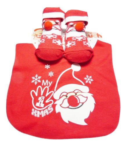 (My 1st Xmas Baby Bib with Santa Smiling Face & Socks 0-6 Months)