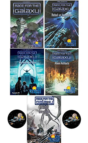 Race for the Galaxy Card Game Bundle of Base Game Plus 4 Expansions and 2 Space Fighter Buttons by Race for the Galaxy