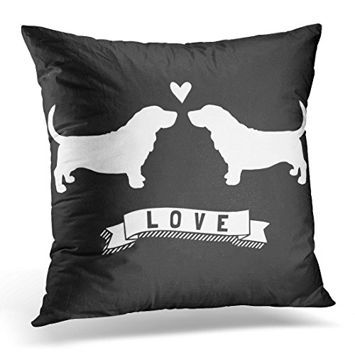 TORASS Throw Pillow Cover Bassett Basset Hounds Love Dog Silhouettes W Wedding Decorative Pillow Case Home Decor Square 16x16 Inches Pillowcase
