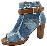 VOVOshoes 3013 Women's Blue Gray Denim Canvas Zipper High Heel High Top Wedge Shoe Boot (8 B(M), Blue)