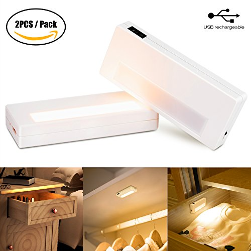 Price comparison product image LED Under Cabinet Light, IR Sensor Lights USB Rechargeable Portable Light Magnetic Removable Closet Lights, Wireless Night Light Stick on Anywhere for Safe Light, Small LED Flashlight (2 Pack)