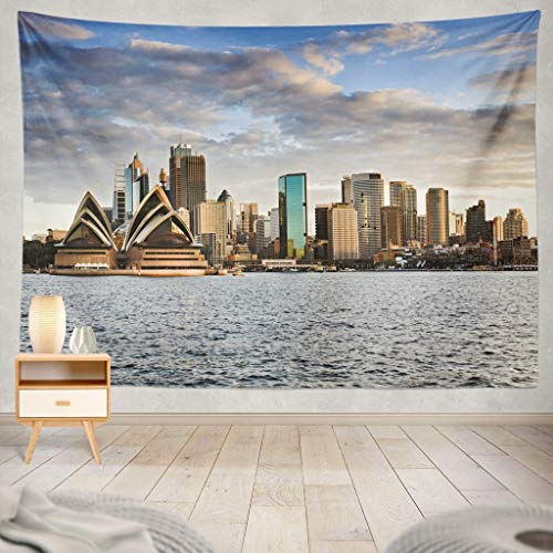 KJONG Australia Sydney from Sunset Sky and Bright Cityscape Line Sydney Skyline Australia Cityscape City Dusk Decorative Tapestry,60X80 Inches Wall Hanging Tapestry for Bedroom Living Room]()