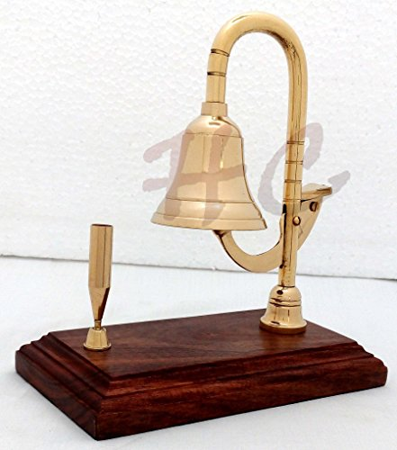 Solid Brass Ship Bell Desk Bell Services Call Bells on Wood Base with Pen Holder by Hanzlacollection (Image #2)