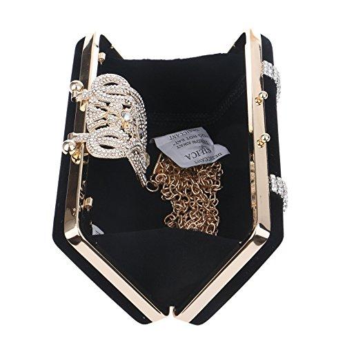 Diamante Mujeres Hombro La De Clubes Novia Bolso Bolsa Negro Del Regalo Prom Las Sobre Brillo De Bolsa Noche De Damas De Embrague Bolso Gamuza Boda Del De 7gUWwqd6wx