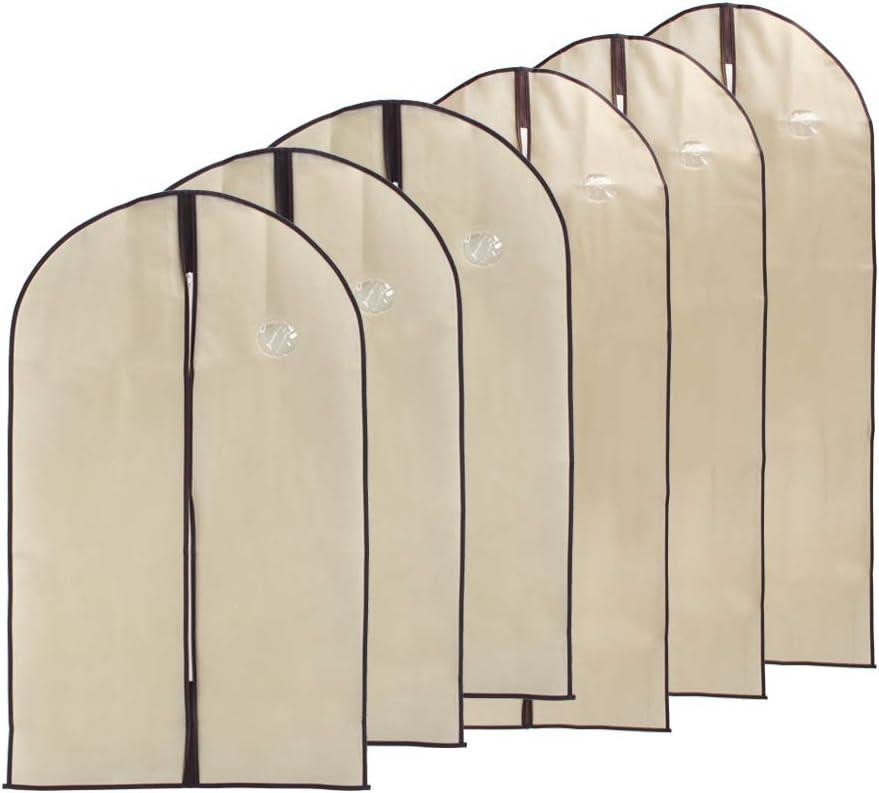 Bolsa Tela de No-Wonven Cubiertas Protectora de Ropa Transpirables Fundas de Ropa con Cremallera 6 Piezas Fundas de Ropa Antipolvo y Lavable para Vestidos,Trajes Abrigos De Invierno Chaquetas Ropa