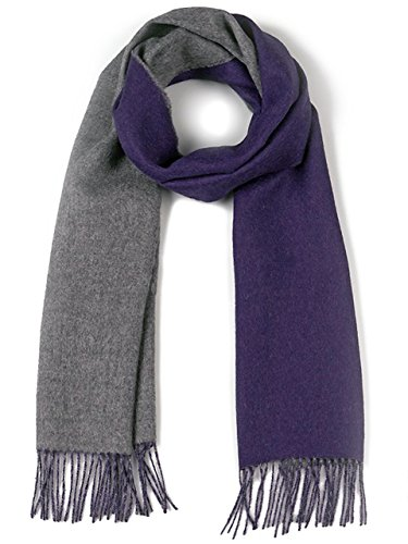 Natura Baby Wool Pure (Alpaca Wool Scarf - 100% Pure Baby Alpaca - Double Sided Reversible Contrast Scarf (Plum Gray))