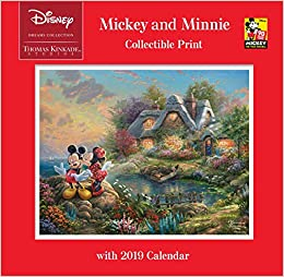 thomas kinkade studios disney dreams collection mickey and minnie collectible print with 2019 calendar