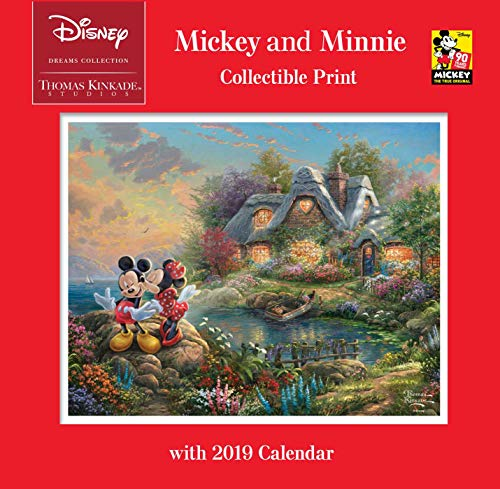 (Thomas Kinkade Studios: Disney Dreams Collection Mickey and Minnie Collectible Print with 2019 Calendar)