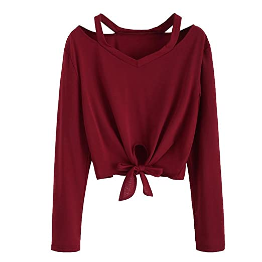 6186b31d4c1 Kangma Women Solid Bow Hollow Out V-Neck Casual Long Sleeve T-Shirt Tunics  Blouse Wine Red at Amazon Women s Clothing store