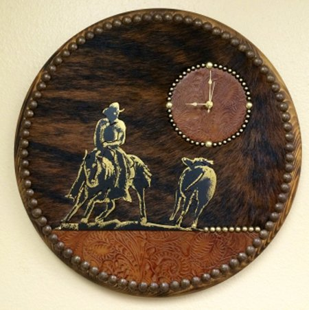 BLACK FOREST DECOR Leather & Cowhide Cutting Horse Clock
