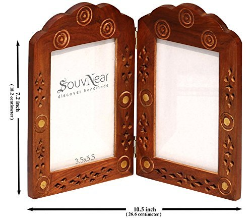 Double Photo Frame for 3x5 Pictures - Clearance Sale Items - Vintage Look Hand Carved Solid Wood Picture Frame - Decorative Antique Lattice Brass Inlay for Living Room Tabletop Décor - India Frames Vintage