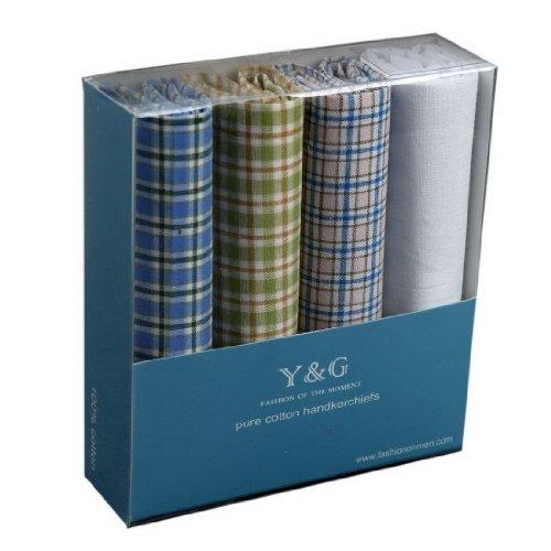 YEB01 Handmade Fabric 4 Pack Cotton Handkerchiefs Set Pretty Designer By Y&G