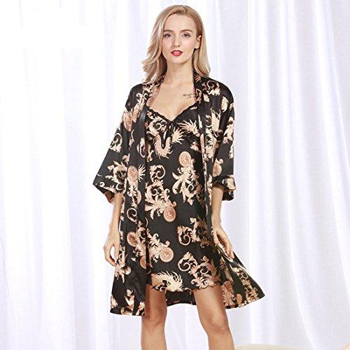 7b6738b0c1b1 Daiwenwo Women Robe Gown Set Sleepwear Faux Silk Luxurious Ladies Summer  Bath Robe Nightdress 2 Pcs Set Female Pajamas WP322