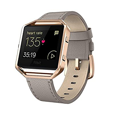 "Andyou for Fitbit Blaze Bands Leather with Frame Small Large (5""-8.2""), Genuine Leather Replacement Band with Silver/Rose Gold/Black Metal Frame for Fitbit Blaze Women Men, Black, Brown, White, Gray."