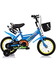 """MAIBQ Children's Bike with Training Wheels, Water Bottle and Front Basket 12"""", Blue, Size S"""