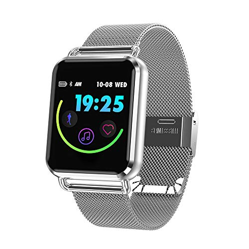 - Vacio Smart Watch,1.3 Inch Tempered Glass Screen Bluetooth Watch with Heart Rate Sleeping Monitor Pedometer Fashion Sports Band Fits iPhone X Samsung S10 (Silver 01)