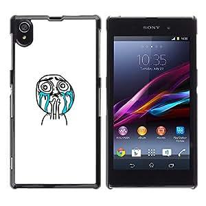 GIFT CHOICE / SmartPhone Carcasa Teléfono móvil Funda de protección Duro Caso Case para Sony Xperia Z1 L39 /Crying Troll Wtf Meme Face/