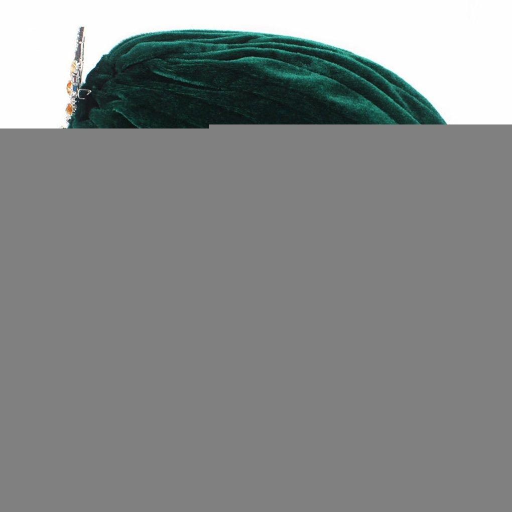 e855dd192 M-Egal Women Lady Chemo Velvet Turban Cap Hat Rhinestone Pendant ...