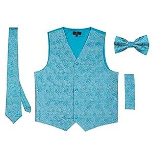 Vittorino Men's 4 Piece Formal Paisley Vest Set with Tuxedo Vest Tie Hankerchief Bow Tie