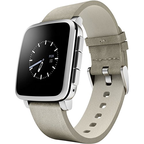Pebble Time Steel - Smartwatch (128 MB RAM, Li-ion, Android, 4.0, Bluetooth 4.0), color plateado