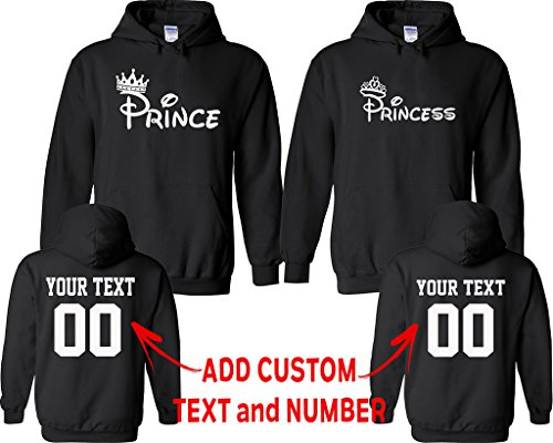 Valentine Name Sweatshirt (CRAZYDAISYWORLD Prince Princess Pattern Customized Text Name Design Couple Hoodie Size Men M Women M)