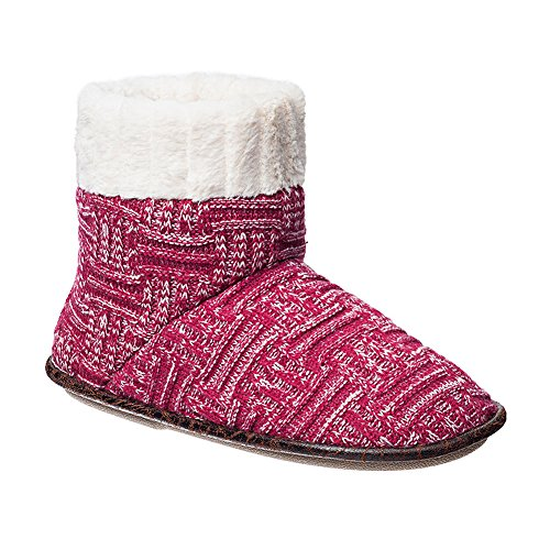 PJ Couture Basketweave Sweater Knit Boot Slippers With Faux Fleece Lining Heathered Berry O3BpH