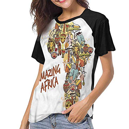 - Printed Causal Tops Blouse,African,Map with Native Objects S-XXL Print Round Neck Short Sleeve