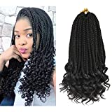 Refined Hair 6Packs 14Inch 3S Wavy Box Braids Crochet Braid Hair Extensions 22roots Ombre Kanekalon Synthetic Goddess Box Braids With Wavy Free End Crochet Braids (14inch, 1B)