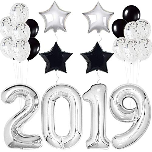 Haimimall Black&Silver 2019 Balloons Decorations - Star Balloons, Black and Silver Balloon, Confetti Balloons, Best for Graduation, Home, Office Decorations, Graduations Party Supplies 2019 Balloon