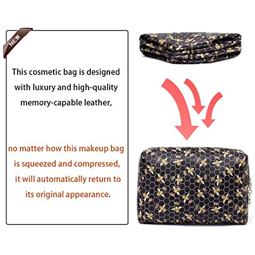Luxury Makeup Bag for Purse Large Women Cosmetic Bags for Toiletry Travel (Black 1)