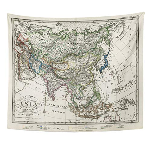 Emvency Decor Wall Tapestry Old Antique Stieler Map of Asia 1872 City Etching Iran Iraq Persia Wall Hanging Picnic for Bedroom Living Room Dorm 60x50 Inches