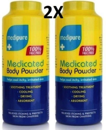 RSA 2 MEDIPURE MEDICATED BODY POWDER 100% TALC FREE HELPS COOL ITCHY, IRRITATED SKIN