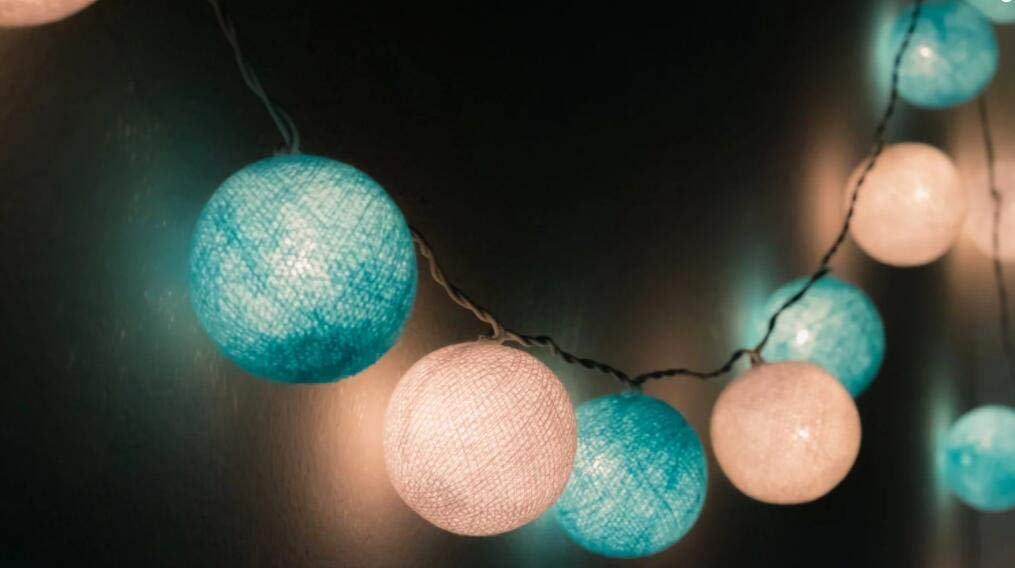 Boy Baby Shower Decor 2.5m 20 LED White Baby Blue Cotton Balls String Lights Battery Operated Christmas LED Garland Party Decorative Lamp for Baby Shower Birthday Party Wedding Decor Kids Room Decor